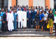 'Taking Entrepreneurship Home': Delta State Governor, Senator Ifeanyi Okowa and the Founder of the Tony Elumelu Foundation(TEF) and Chairman of UBA Plc, Mr. Tony Elumelu, flanked by TEF entrepreneurs from Delta State, during the presentation of the young entrepreneurs to the Governor at the State House in Asaba, Delta State on Thursday.