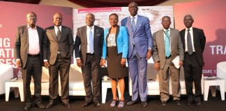 L-R: Mr. Opeyemi Agbaje, CEO, RTC Advisory; Dr. Fidelis Ayebae, CEO, Fidson Healthcare Plc; Mr. Kola Ayeye, CEO, GDL; Dr. (Mrs.) Nadu Denloye, Chairman, GDL; Mr. Oye-Hassan Odukale, MD/CEO, Leadway Assurance Company Limited; Mr. Simon Aranonu, Executive Director, Bank of Industry; and Mr. Adedotun Sulaiman, Executive Chairman, Arian Capital Limited at the GDL business conference in Lagos last Wednesday.