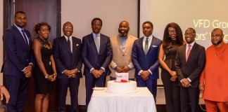 L-R; Azubike Emodi, Group Commercial Director/MD, VFD Microfinance Bank; Jewel Okwechime, Independent Non-Executive Director, VFD Group; Niyi Adenubi, Executive Director, Institutional Business & Investor Relations; Olatunde Busari, SAN, Chairman of VFD Group; Kayode Fadahunsi, immediate past Chairman; Nonso Okpala, GMD/CEO; Ngozi Aghanya, Non-Executive Director; Gbenga Omolokun, Chief Operating Officer; and Suleiman Lawal, Non-Executive Director, VFD Group