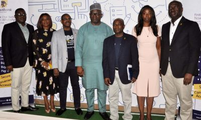 Adesola Adeduntan, Managing Director/Chief Executive Officer, FirstBank (centre); flanked by Gbenga Shobo, Deputy Managing Director, FirstBank (third left); Folake Ani-Mumuney, Group Head, Marketing & Corporate Communications, FirstBank (second left); Adebayo Olanrewaju, Head, Digital Banking, e-Business, FirstBank (extreme left); Olusegun Alebiosu, Chief Risk Officer, FirstBank (third right); Lola Ekugo, Head, Digital Lab, e-Business, FirstBank (second right) and Chuma Ezirim, Group Head, e-Business Group, FirstBank (extreme right) at the formal launch of the FirstBank Chat Banking on WhatsApp held at the FirstBank Digital Lab, Yaba, Lagos.