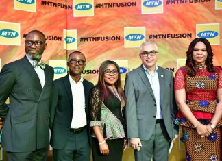 Corporate Relations Executive, MTN Nigeria, Tobechukwu Okigbo; Sales and Distribution Executive, MTN Nigeria, Adekunle Adebiyi; Human Resource Executive, MTN Nigeria, Esther Akinnukawe; COO MTN Nigeria, Mazen Mroue and Chief Enterprise Business Officer, MTN Nigeria, Lynda Saint-Nwafor at the maiden edition of MTN Partner Summit in Lagos recently.