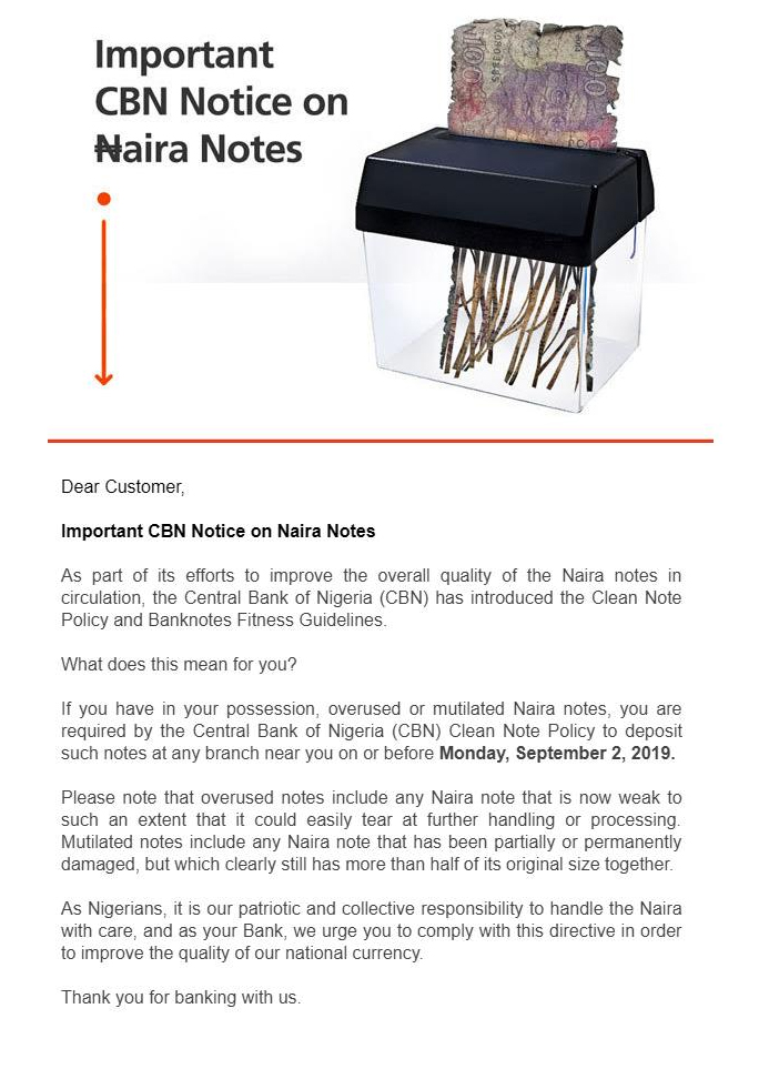 GTBank Email on Mutilated Naira Notes