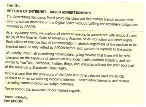 APCON to regulate Social media adverts