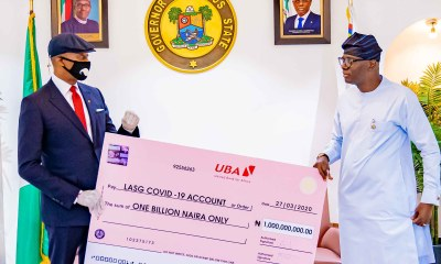 COVID-19: UBA Presents N1billion to Lagos State.