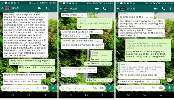 Fraudulent chat with internet scammers