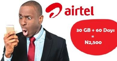 Airtel 30 GB for N2,500