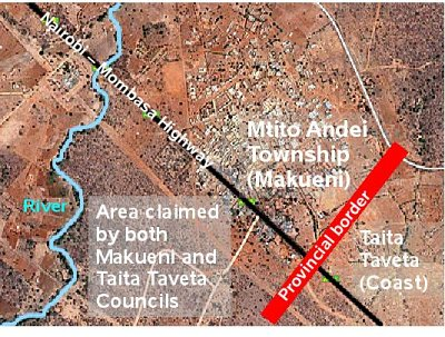 Image showing the source of the border conflict between Makueni and Taita Taveta County Councils. Satellite image by Google Maps
