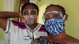 Cameroon sister designers do their bit Ange Goufack (left) and her sister Edmonde Kennang (right) have been producing these colorful face masks in Cameroon, with added plastic across the eyes. Since April 13, the government there has made it mandatory for people to wear face masks in public to slow the spread of the coronavirus.