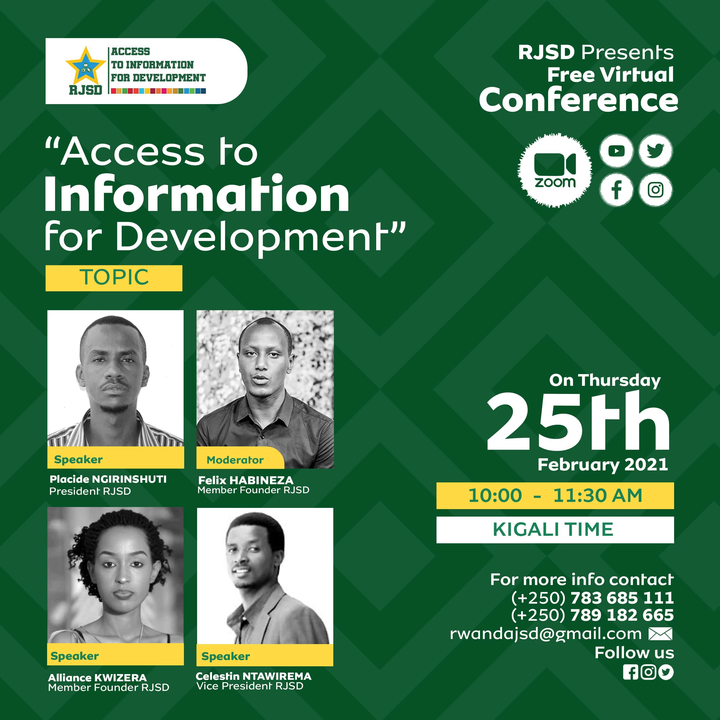 The Rwanda Journalists for Sustainable Development ( RJSD )to Launch Officially its activities, in a Meeting that will be held to the Virtual Conference.