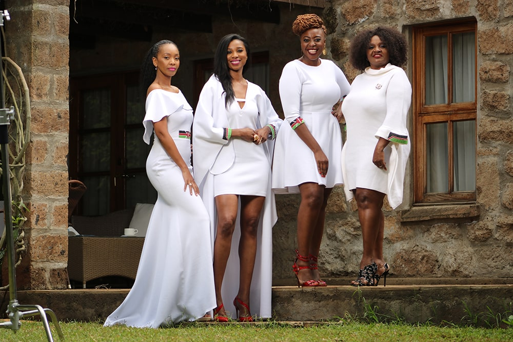 Fashion icon ConnieAluoch, Carole Kinoti, and Model Bidanya Barasa,Debra Sanaipei out to showcase designs during the Madaraka dayfete