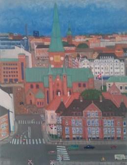Parti fra Århus med Katedralskole og domkirkens tårn. 40x30. 2003. Olie på lærred.