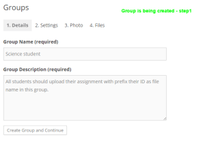 creating group step 1