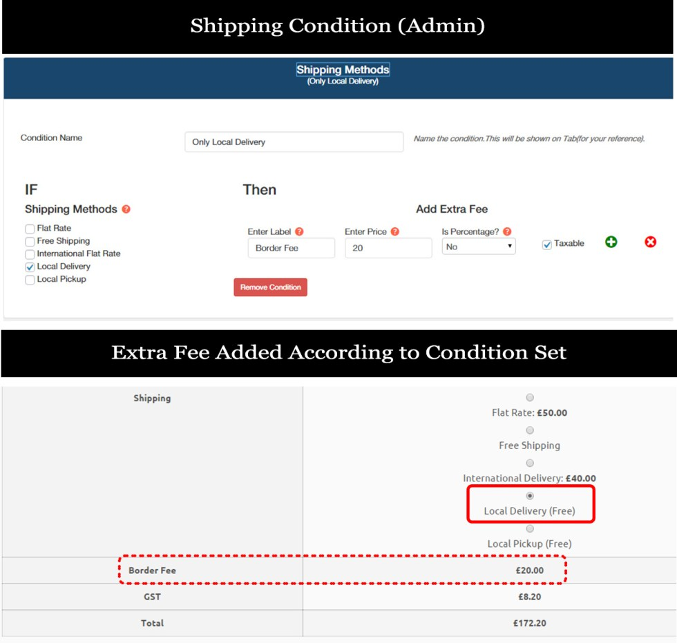 Shipping-method-condition