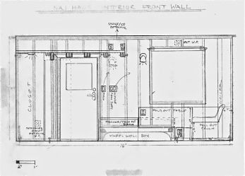 An early drawing of where to place electrical boxes. I had made scaled as-built drawings of my stud placements and then put tracing paper over them to plan out both my wiring and my cabinets.