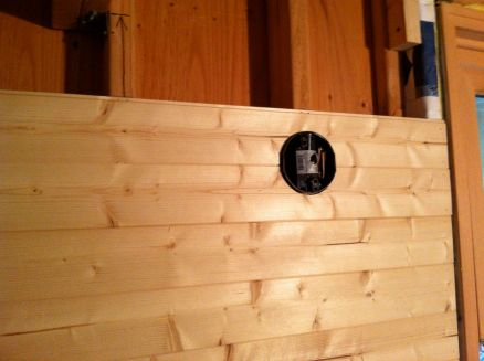 One thing I encountered was that the lip of the saddle box sticks out beyond the wall paneling. This was a case where I was glad I had my light fixture in hand to confirm the base would work.