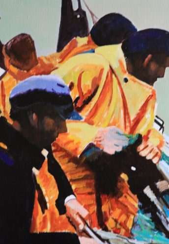 Marins Bretons au travail. Acryl+Médium. Toile lin. 80x40. Vendue