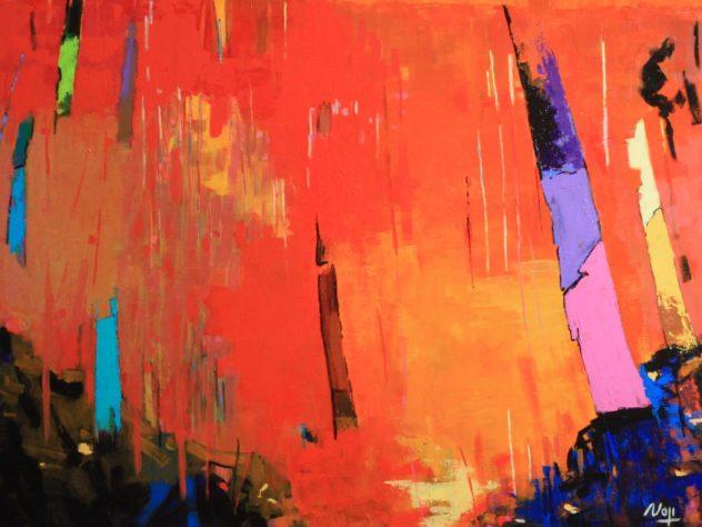 Mai 2019 (2).Acry+Médium sur toile lin. 100X81