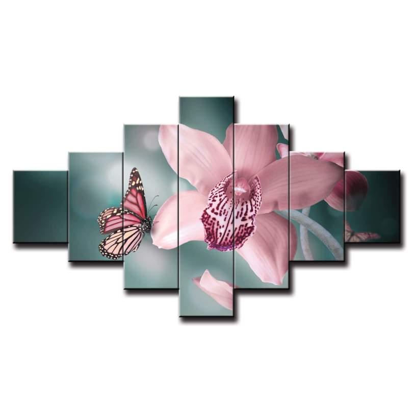 7 dielny obraz na stenu orchidea s motýľom