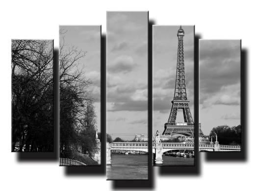 Eiffelova veza v parizi cierno biela
