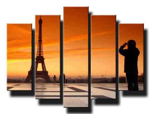 eiffelova veza v parizi so zapadom slnka