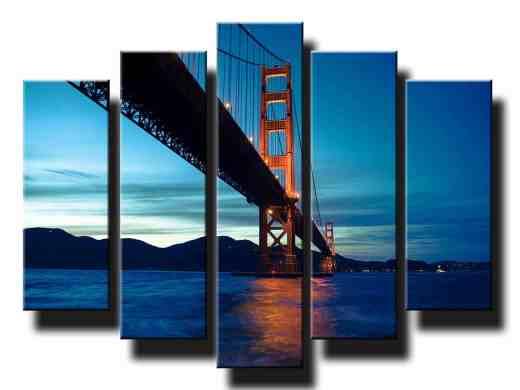 5 dielny obraz na stenu most Golden Gate