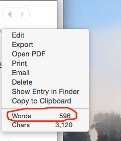 word count feature in Day One
