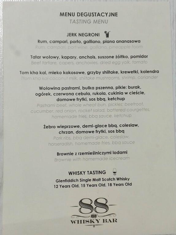 Whisky Bar 88 Poznań - menu degustacyjne
