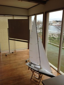 ヨットとホワイトボード