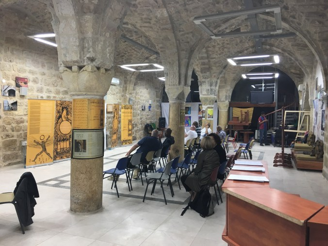 "The ""George Jackson in the Sun of Palestine"" exhibition event at African Community Center in the Old City in Jerusalem (5 November 2016) -- featuring Nasser Qous, Greg Thomas, Ali Jiddeh and Mousa Qous as speakers."