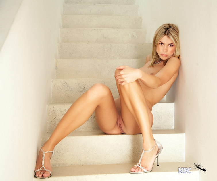 Oops blonde at home shows downblouse 6