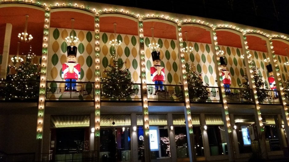 The building is a famous Theater in Tivoli that always has Christmas trees and the soldiers from the nutcracker on display.