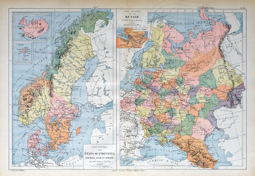 An old map over the old Scandinavia. Denmark, Sweeden and Norway.