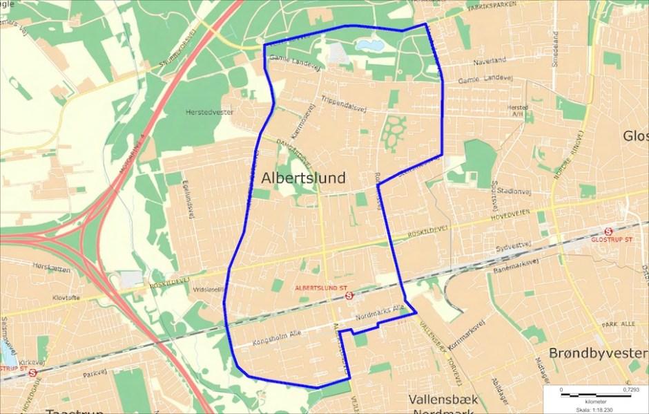 코펜하겐서부지방경찰청이 2018년 4월3일 알베르트순시 일부를 불심 검문 지역으로 설정했다. 해당 지역에서 잇따라 총격 사건이 발생했기 때문이다 (코펜하겐서부지방경찰청 제공)