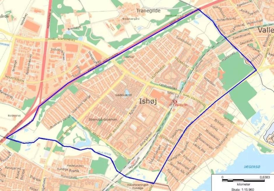 코펜하겐서부지방경찰청이 2018년 9월22일 자정부터 10월21일 자정까지 이스호이 지역에 설치한 검문지역(코펜하겐서부지방경찰청 제공)