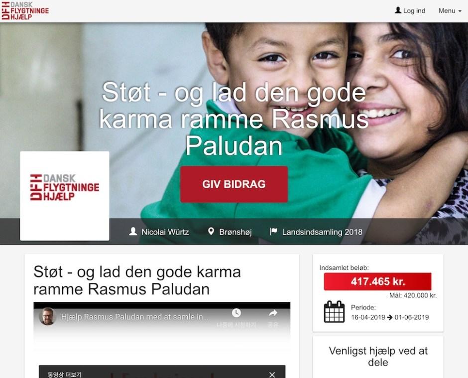 방송 제작자 니콜라이 뷔르츠(Nicolai Würtz)가 극우 논객 라스무스 팔루단의 반이슬람 집회에 대항해 4월16일 시작한 난민지원기금모금 운동이 3일 만에 목표 42만 크로네에 육박하는 자금을 모았다(웹사이트 갈무리)