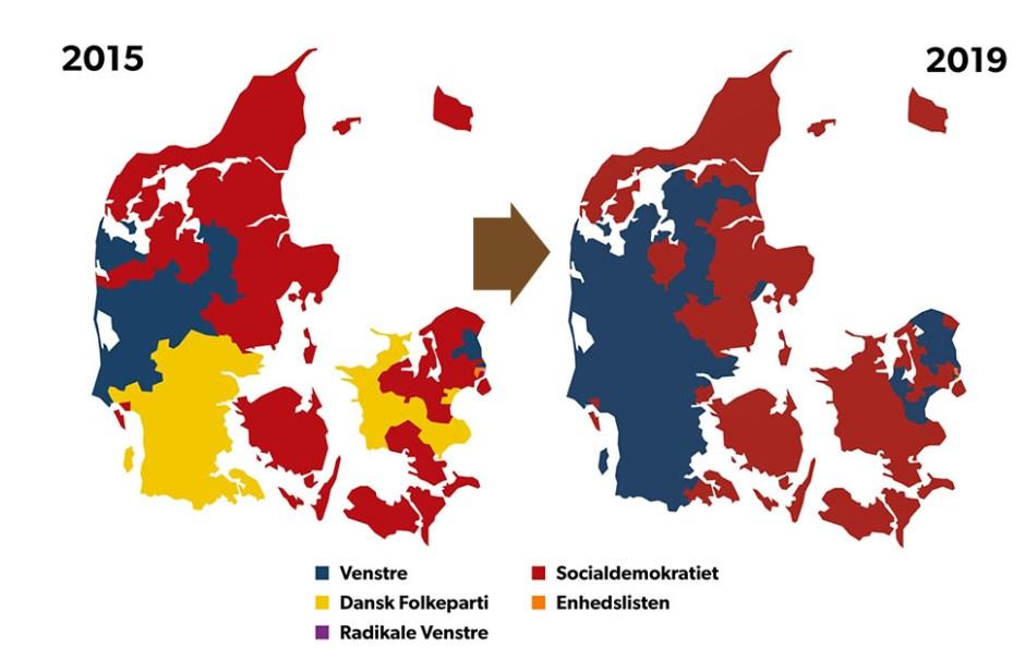 지도로 본 2019년 덴마크 국회의원 총선거 결과. 92개 지역구별로 최다 득표한 정당을 표기했다. 왼쪽 2015년 총선 결과와 비교하면 덴마크인민당의 하락세가 명백하게 보인다(DR 재인용)