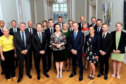 메테 프레데릭센(Mette Frederiksen) 신임 덴마크 총리가 2019년 6월27일 발표한 사회민주당 단독 소수 정부 내각(덴마크 총리실 제공)