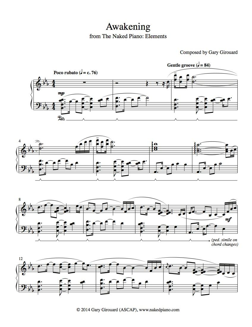Sheet Music – Gary Girouard | The Naked Piano
