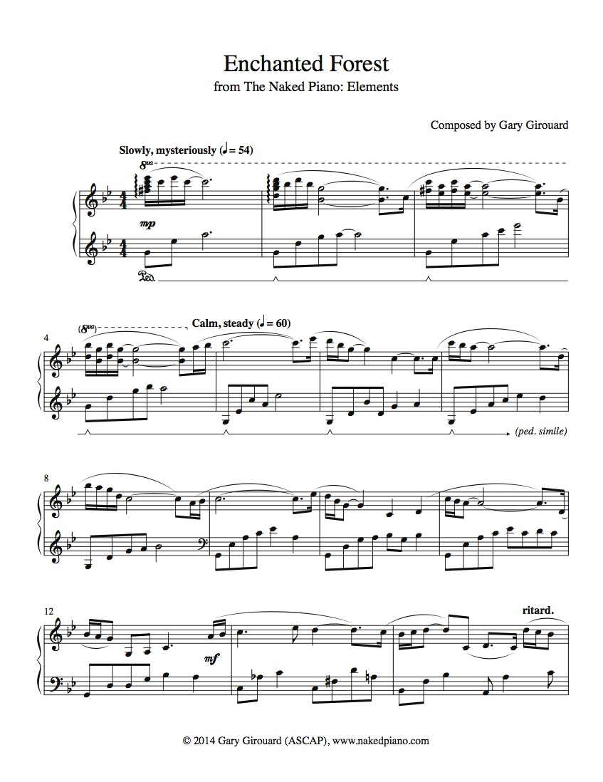 """Enchanted Forest"" Solo Piano Sheet Music (from the Naked Piano Elements)"