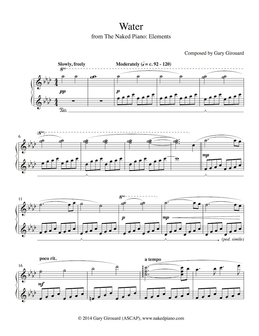 """Water"" Solo Piano Sheet Music (from the Naked Piano Elements)"
