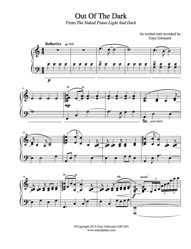 "Out of the Dark"" Solo Piano Sheet Music (from the Naked Piano ..."