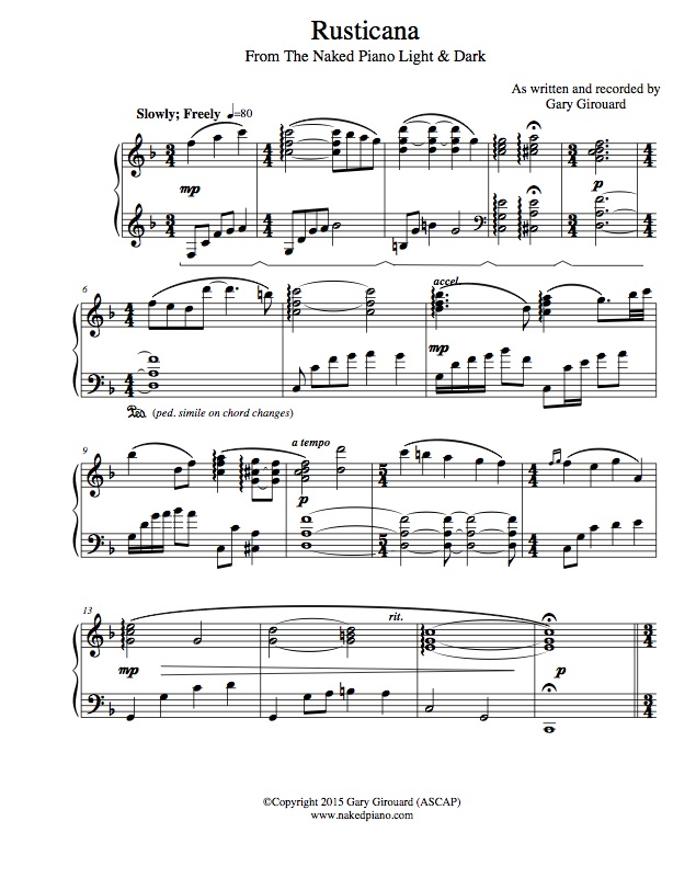 """Rusticana"" Solo Piano Sheet Music (from the Naked Piano Light & Dark)"