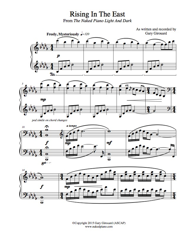 """Rising in the East"" Solo Piano Sheet Music (from the Naked Piano Light & Dark)"
