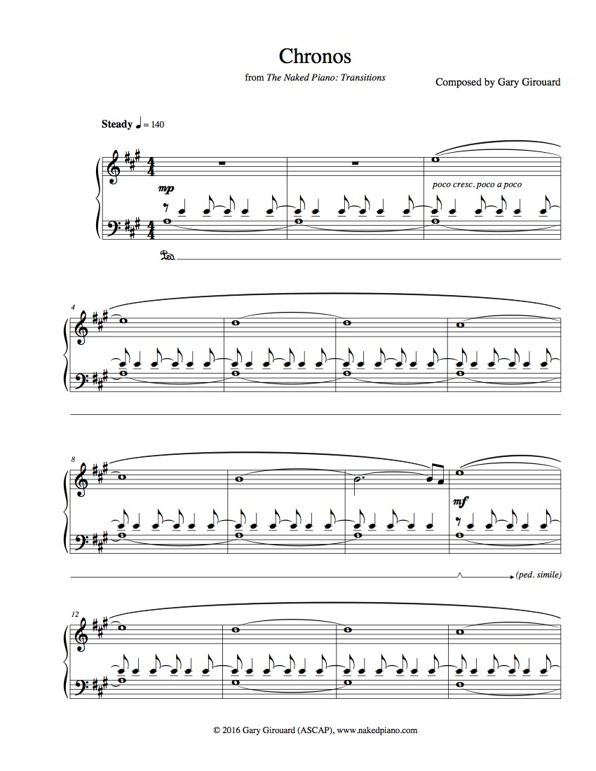"""""""Chronos"""" Solo Piano Sheet Music (from The Naked Piano Transitions)"""