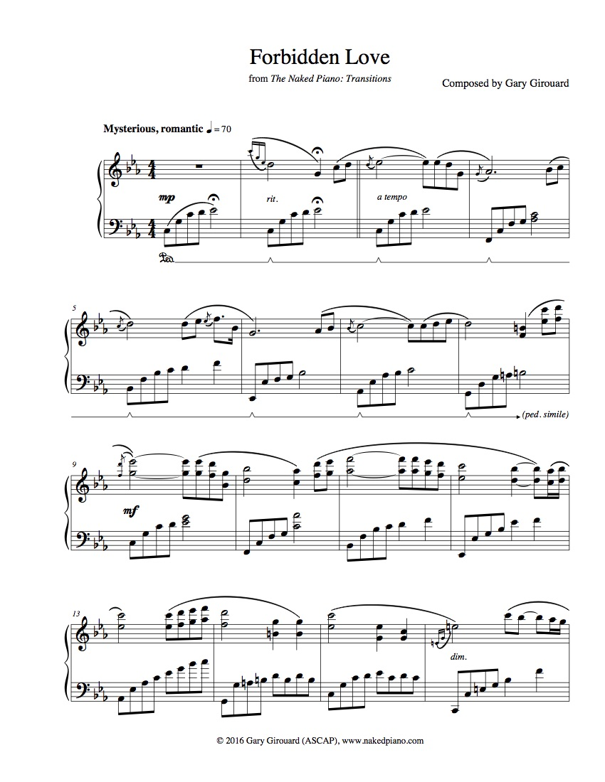 """Forbidden Love"" Solo Piano Sheet Music (from The Naked Piano Transitions)"