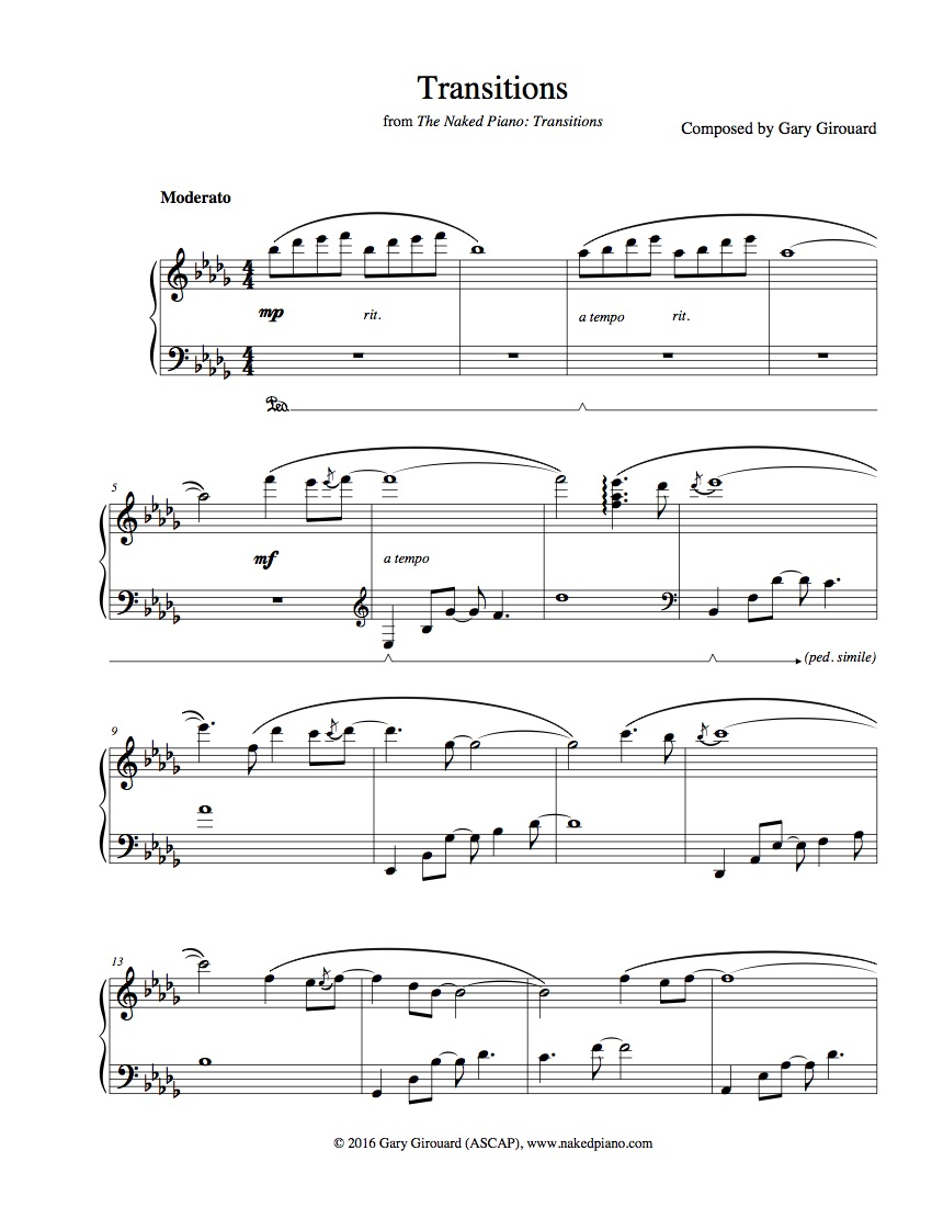 """""""Transitions"""" Solo Piano Sheet Music (from The Naked Piano Transitions)"""