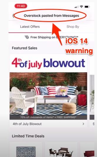 iOS 14 clipboard warnng