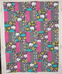 Pink Elephant Baby Quilt