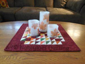 Moda Blockheads 2 block 27 Mountain Climbing made into a candle mat table runner