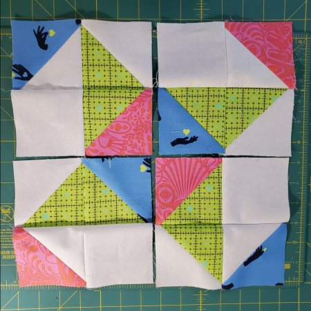 half square triangles sewn into 4 patches